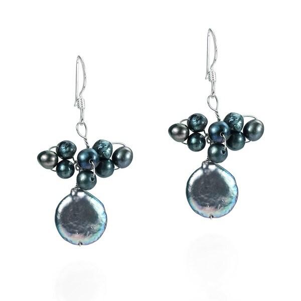 Black Pearl Disco Cluster Drop .925 Silver Earrings (Thailand)