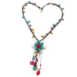 Floral Tassel Turquoise-Coral-Mix Stone Cotton Rope Necklace (Thailand)