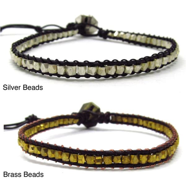 Silver or Brass Bead Triple Wrap Leather Bracelet (Thailand)
