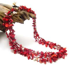 Royal Red Five-Layer Beauty Cotton Rope Necklace (Thailand)
