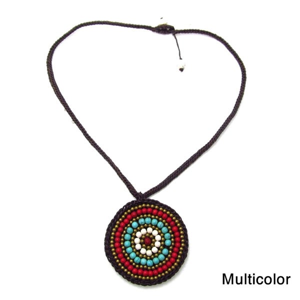 Mosaic Medallion Blue/White Turquoise Embroidered Cotton Rope Necklace (Thailand)