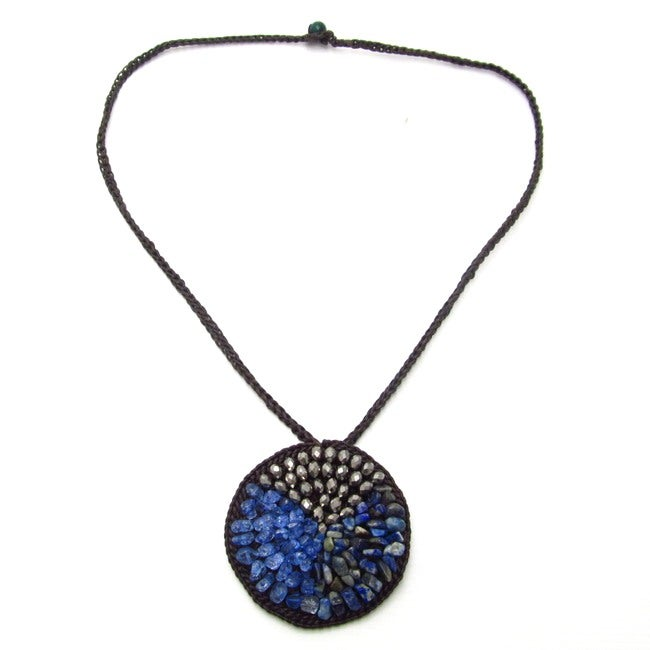 Nature's Medallion Blue Sodalite-Crystal-Glass Trio Necklace (Thailand)