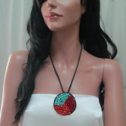 Nature's Medallion Turquoise-Coral-Crystal Trio Necklace (Thailand)