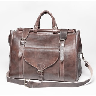 Hand-crafted Vintage-style Chestnut-brown Leather Travel Bag (Morocco)