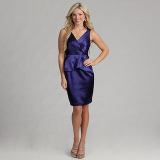 London Times Women's Sleeveless Peplum Sheath Dress
