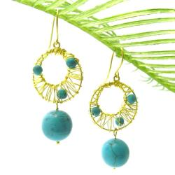 Blue Mystery Brass Wire Works Turquoise Ball Dangle Earrings (Thailand)