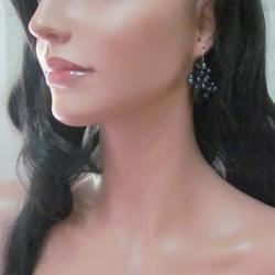 Freshwater Pearl Floral Ray Black Onyx Teardrop Earrings (Thailand)