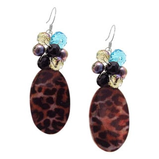 Cheetah Teardrop Handpainted Mother of Pearl Earrings (Thailand)