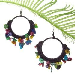 Multicolor Mother of Pearl Chandelier Hoop Earrings (Thailand)