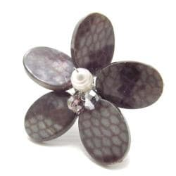 Gray Snake Skin Print Mother of Pearl Free Size Ring (Thailand)