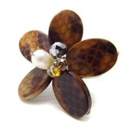 Brown Snake Skin Print Mother of Pearl Free Size Ring (Thailand)