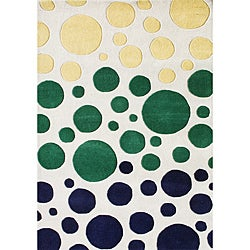 Handmade Metro Sabrina Circle Soft Cream New Zealand Wool Rug (8' x 10')