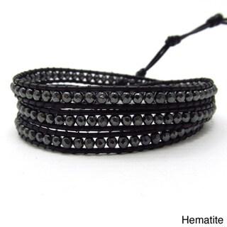 Facets Hematite/ Amethyst Genuine Black Leather 3-Wrap Bracelet (Thailand)