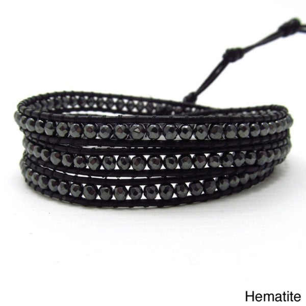 Facets Hematite/ Amethyst Genuine Black Leather 3-Wrap Bracelet (Thailand)