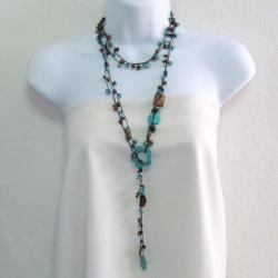 Lariat Glam Turquoise- Tiger's Eye Wrap Around Necklace (Thailand)