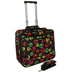 World Traveler Multi Color Peace Fashion Print Women's Rolling 17-inch Laptop Case