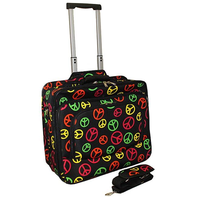 World Traveler Peace Fashion Print Rolling 17-inch Laptop Case