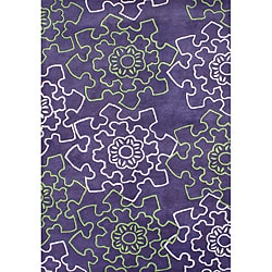 Handmade Metro Diamond Purple New Zealand Wool Rug (5' x 8')