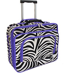 World Traveler Purple Trim Zebra Fashion Print Women's Rolling 17-inch Laptop Case