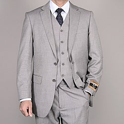 Men's Light Gray Wool/ Silk 3-Piece Vested Suit