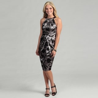 London Times Women's Floral Satin Sheath Dress