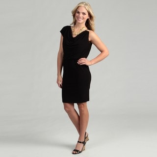 London Times Women's Black Cowl Neck Dress