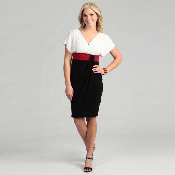 London Times Women's Color-block Jersey Dress