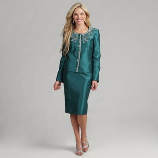Kasper Women's Emerald Embroidered Skirt Suit