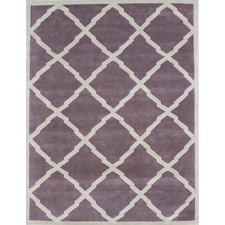 Alliyah Handmade Lilac New Zealand Blend Wool Rug (9' x 12')