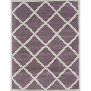 Alliyah Handmade Lilac New Zealand Wool Rug (9' x 12')
