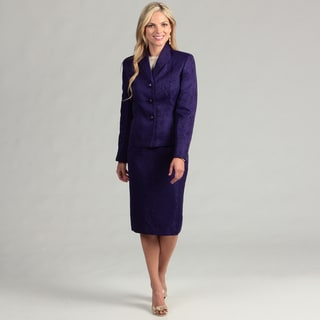 Le Suit Women's 3-button Jacquard Skirt Suit