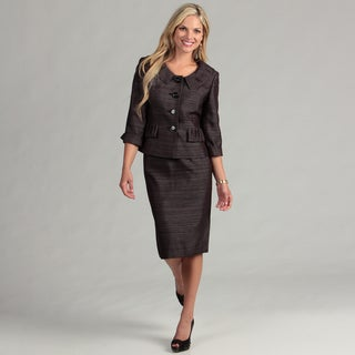 Le Suit Women's Midnight/ Silver Pleated Skirt Suit FINAL SALE