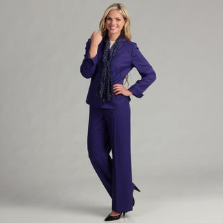 Le Suit Women's Purple Passion Twill Pant Suit