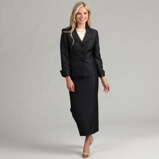 Le Suit Women's Black/ Orchid Skirt Suit