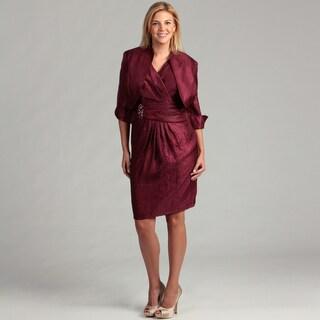 Jessica Howard Women's Wine Pleated 2-piece Plus Dress