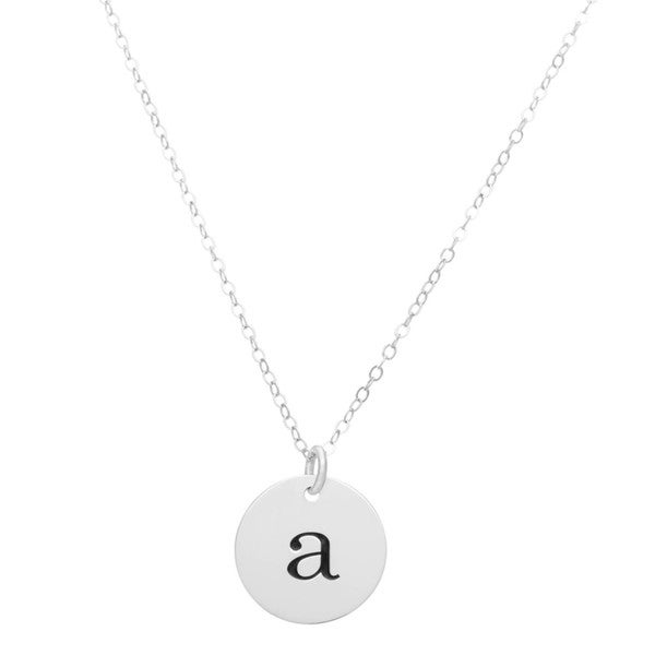 Sterling Silver Engraved Initial Disc Pendant