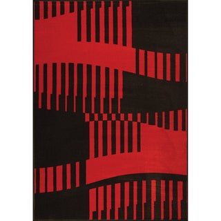 Urban Abstract Woven Red Rug (5' x 7')