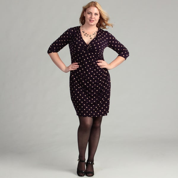 Jessica Howard Women's Plus Size Purple Dot Dress FINAL SALE