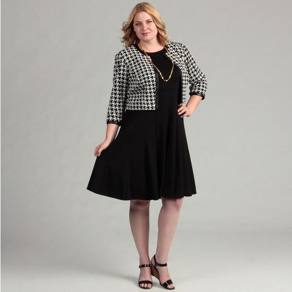 Jessica Howard Women's Plus 2-piece Houndstooth Jacket Ponte Dress Set