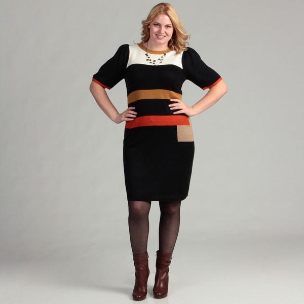 Jessica Howard Women's Plus Shirred Sleeve Colorblock Dress