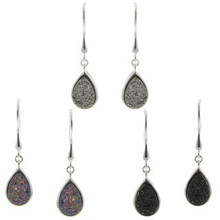 Pearlz Ocean Pear-cut Druzy Dangle Earrings