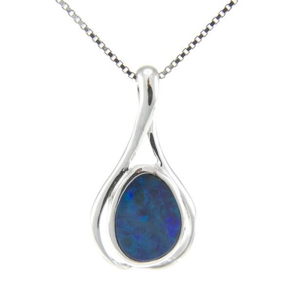Pearlz Ocean Sterling Silver Bezel-set Fancy-cut Boulder Opal Necklace