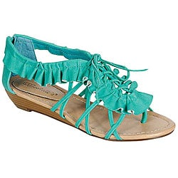 Oceanstar Aquamarine Skirt-ruffle Shoelace-detail Women's Sandal