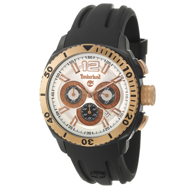 Timberland Men's 'Kingsbridge' Black Stainless Steel and Rose Goldplated and Silicon Quartz Watch