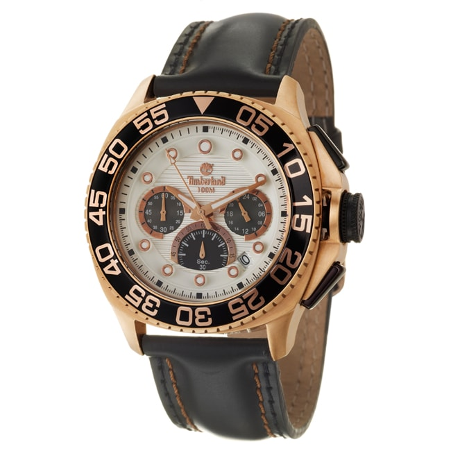 Timberland Men's 'Kingsbridge' Rose Goldplated Stainless Steel and Leather Quartz Watch
