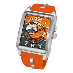 Stuhrling Original Men's Mad Man Complex Orange Rubber Strap Swiss Quartz Alarm Watch