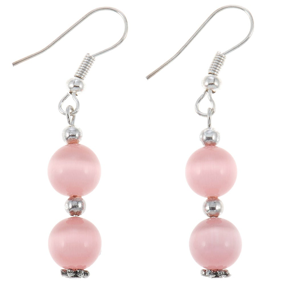 Pink / White Fusion Glass Earrings (Thailand)
