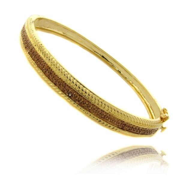 Finesque 14k Gold Overlay Brown Diamond Accent Bangle Bracelet