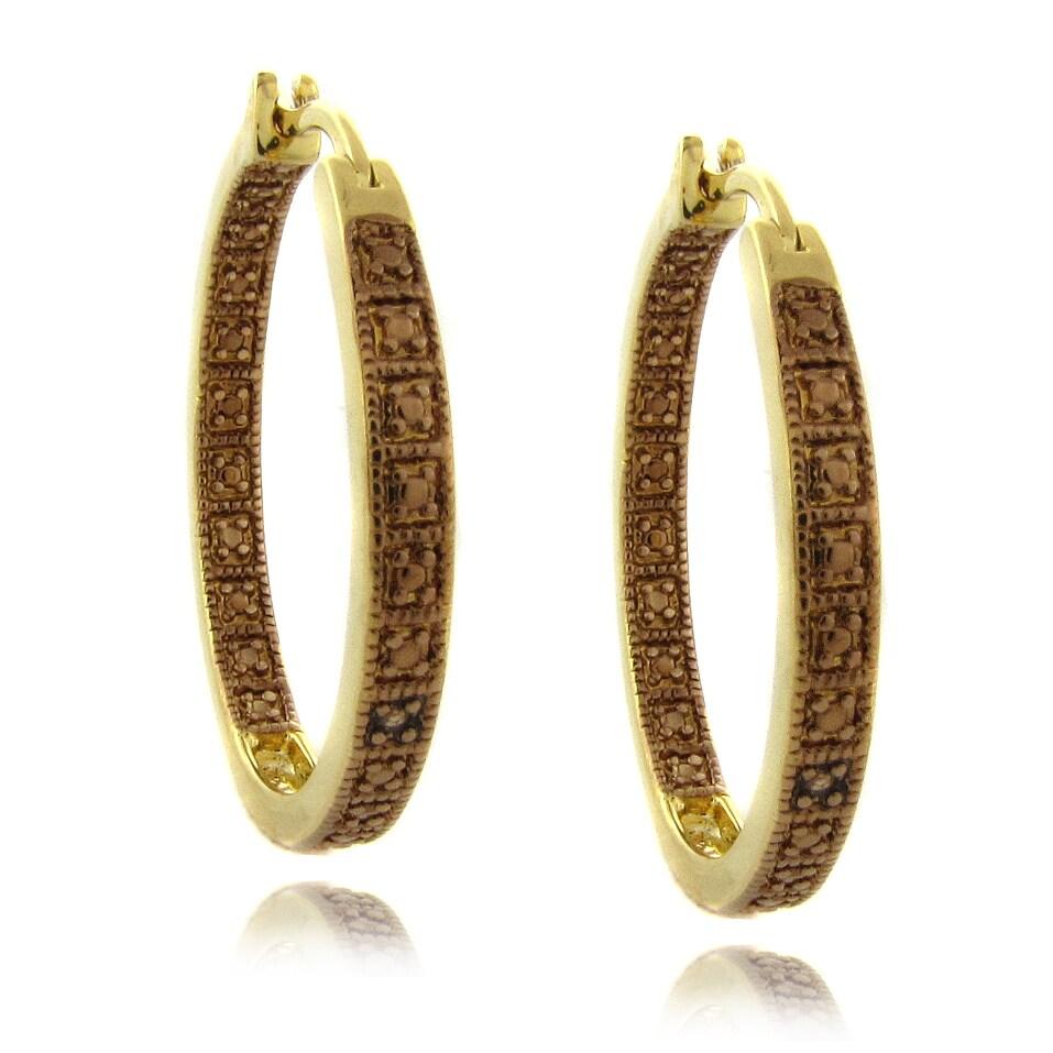 Finesque 14k Gold Overlay Brown Diamond Accent Hoop Earrings
