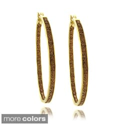 Finesque Plated Brown Diamond Accent Pave Hoop Earrings